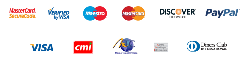 Payment Methods: Paypal, Visa, MasterCard, CMI, Maestro, Discover